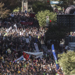 Montreal, Qc, October 03, 2015. A crowd estimate to 100 000 peoples from Quebec public workers common front, gather downtown Montreal to demonstrate against Quebec government's  wage negotiation in public sector. Photo Normand Blouin