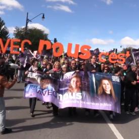Manifestation monstre devant le Mont royal contre les coupes dans le secteur public